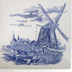 Gilliot Set of 6 of Total 120 Dutch Blue Ceramic Tiles by Gilliot Hemiksen 1930s - 1298271