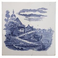 Gilliot Set of 6 of Total 120 Dutch Blue Ceramic Tiles by Gilliot Hemiksen 1930s - 1298272