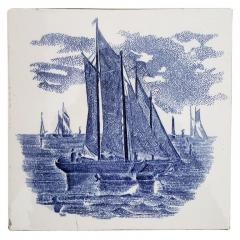 Gilliot Set of 6 of Total 120 Dutch Blue Ceramic Tiles by Gilliot Hemiksen 1930s - 1298273