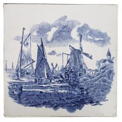 Gilliot Set of 6 of Total 120 Dutch Blue Ceramic Tiles by Gilliot Hemiksen 1930s - 1298274