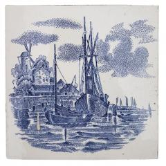 Gilliot Set of 6 of Total 120 Dutch Blue Ceramic Tiles by Gilliot Hemiksen 1930s - 1298275