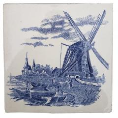 Gilliot Set of 6 of Total 120 Dutch Blue Ceramic Tiles by Gilliot Hemiksen 1930s - 1298276