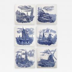 Gilliot Set of 6 of Total 120 Dutch Blue Ceramic Tiles by Gilliot Hemiksen 1930s - 1307461