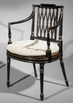 Gillows of Lancaster London Antique Georgian Regency Black Painted and Gilded Armchair circa 1795 - 1102249