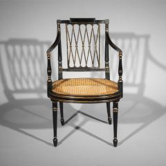 Gillows of Lancaster London Antique Georgian Regency Black Painted and Gilded Armchair circa 1795 - 1102251