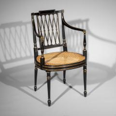 Gillows of Lancaster London Antique Georgian Regency Black Painted and Gilded Armchair circa 1795 - 1102253