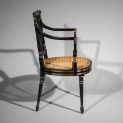 Gillows of Lancaster London Antique Georgian Regency Black Painted and Gilded Armchair circa 1795 - 1102255