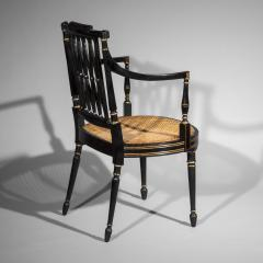 Gillows of Lancaster London Antique Georgian Regency Black Painted and Gilded Armchair circa 1795 - 1102256