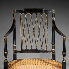 Gillows of Lancaster London Antique Georgian Regency Black Painted and Gilded Armchair circa 1795 - 1102297