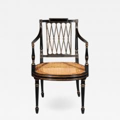 Gillows of Lancaster London Antique Georgian Regency Black Painted and Gilded Armchair circa 1795 - 1103215