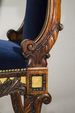 Gillows of Lancaster London English 19th Century Regency Rosewood and Gilded Desk Armchair circa 1825 - 1088415