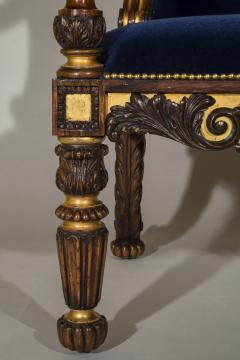 Gillows of Lancaster London English 19th Century Regency Rosewood and Gilded Desk Armchair circa 1825 - 1088417