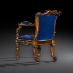 Gillows of Lancaster London English 19th Century Regency Rosewood and Gilded Desk Armchair circa 1825 - 1088424
