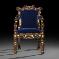Gillows of Lancaster London English 19th Century Regency Rosewood and Gilded Desk Armchair circa 1825 - 1088425