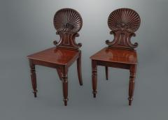 Gillows of Lancaster London Gillows Pair of Regency Shell Back Hall Chairs - 1131560