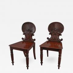 Gillows of Lancaster London Gillows Pair of Regency Shell Back Hall Chairs - 1132328