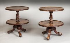 Gillows of Lancaster London Pair Low Mahogany Circular Sidetables Dumb Waiters - 1141197