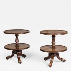 Gillows of Lancaster London Pair Low Mahogany Circular Sidetables Dumb Waiters - 1141755