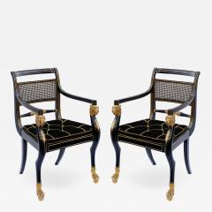 Gillows of Lancaster London Pair of Early 19th Century English Parcel Gilt Armchairs by Gillows - 860738