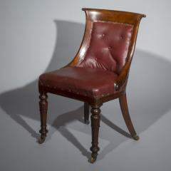 Gillows of Lancaster London Pair of Regency Gondola Tub Chairs in Old Burgundy Leather - 1071242
