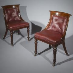 Gillows of Lancaster London Pair of Regency Gondola Tub Chairs in Old Burgundy Leather - 1071243