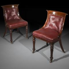 Gillows of Lancaster London Pair of Regency Gondola Tub Chairs in Old Burgundy Leather - 1071244