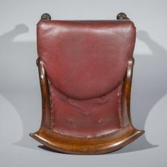Gillows of Lancaster London Pair of Regency Gondola Tub Chairs in Old Burgundy Leather - 1071246