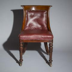 Gillows of Lancaster London Pair of Regency Gondola Tub Chairs in Old Burgundy Leather - 1071247