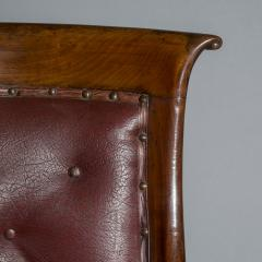 Gillows of Lancaster London Pair of Regency Gondola Tub Chairs in Old Burgundy Leather - 1071248