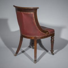 Gillows of Lancaster London Pair of Regency Gondola Tub Chairs in Old Burgundy Leather - 1071249