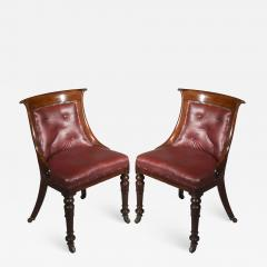Gillows of Lancaster London Pair of Regency Gondola Tub Chairs in Old Burgundy Leather - 1071609