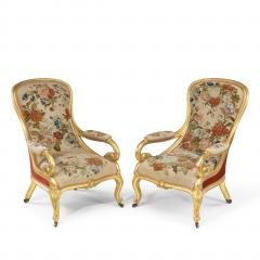 Gillows of Lancaster London Pair of Victorian gilt wood and needlework arm chairs by Gillows - 1110549