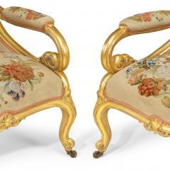 Gillows of Lancaster London Pair of Victorian gilt wood and needlework arm chairs by Gillows - 1110550