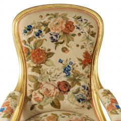 Gillows of Lancaster London Pair of Victorian gilt wood and needlework arm chairs by Gillows - 1110551