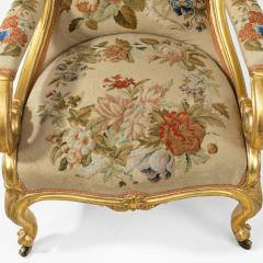 Gillows of Lancaster London Pair of Victorian gilt wood and needlework arm chairs by Gillows - 1110552