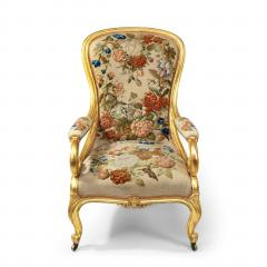 Gillows of Lancaster London Pair of Victorian gilt wood and needlework arm chairs by Gillows - 1110555