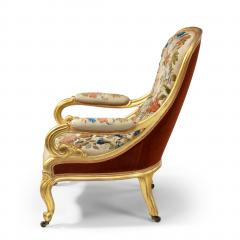 Gillows of Lancaster London Pair of Victorian gilt wood and needlework arm chairs by Gillows - 1110561