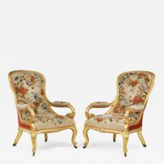 Gillows of Lancaster London Pair of Victorian gilt wood and needlework arm chairs by Gillows - 1111268