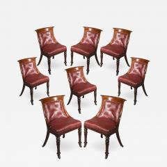 Gillows of Lancaster London Regency Set of Eight Gondola Tub Chairs in Old Leather - 1033568
