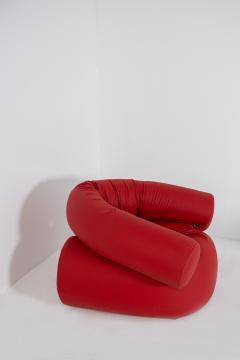 Giovanni Gismondi Contemporary Italian Armchair by Giovanni Grismondi Design Red Leather 2020 - 2014969