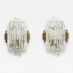 Glash tte Limburg Elegant pair of Faceted Sconces by Limburg  - 1155728