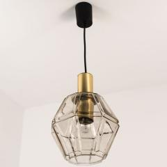Glash tte Limburg Geometric Brass and Clear Glass Pendant Light by Limburg 1970s - 1190355