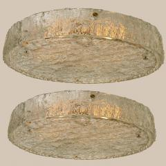 Glash tte Limburg Pair of Extra Large Textured Glass Flushmounts by Kaiser 1960s - 1314702