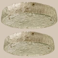 Glash tte Limburg Pair of Extra Large Textured Glass Flushmounts by Kaiser 1960s - 1314710