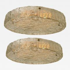 Glash tte Limburg Pair of Extra Large Textured Glass Flushmounts by Kaiser 1960s - 1318615