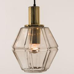 Glash tte Limburg Pair of Geometric Brass and Clear Glass Pendant Lights by Limburg 1970s - 1190378