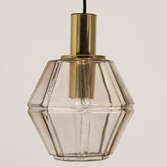 Glash tte Limburg Pair of Geometric Brass and Clear Glass Pendant Lights by Limburg 1970s - 1190380