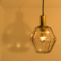 Glash tte Limburg Pair of Geometric Brass and Clear Glass Pendant Lights by Limburg 1970s - 1190384