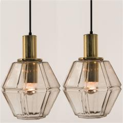 Glash tte Limburg Pair of Geometric Brass and Clear Glass Pendant Lights by Limburg 1970s - 1190385