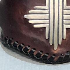 Glenn Green Galleries Silver Sun leather cuff bracelet - 1758900